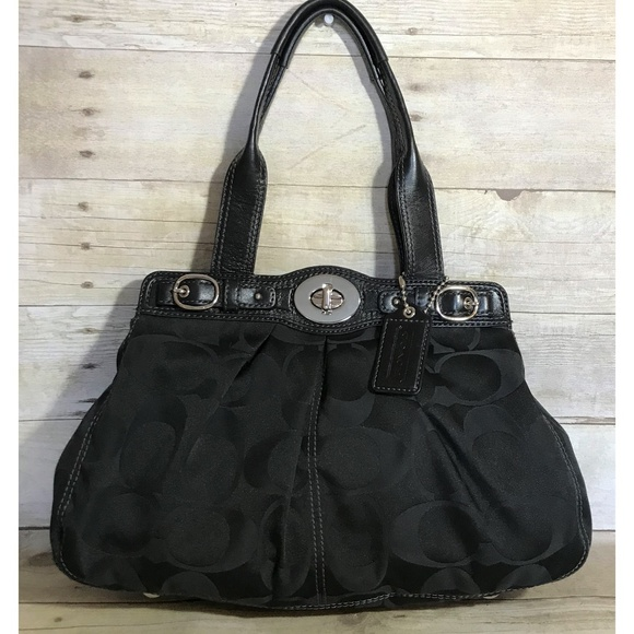 Coach Handbags - Coach Garnet Black Sateen Tote Bag Handbag F13906